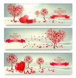 Bandeiras retros do feriado Árvores do Valentim com folhas coração-dadas forma Foto de Stock Royalty Free