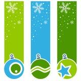Bandeiras retros do vertical das bolas do Natal ilustração do vetor