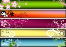 Bandeiras retros florais Fotografia de Stock