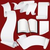 Bandeiras, rolos de papel e livro ajustados (vetor, CMYK) Ilustração Stock