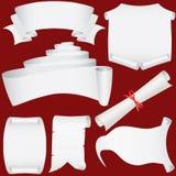 Bandeiras, rolos e jogo de papel do diploma Ilustração Stock