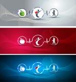 Bandeiras saudáveis do ser humano e do coração Imagem de Stock Royalty Free