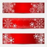 Bandeiras sazonais brilhantes do inverno no vermelho Foto de Stock Royalty Free