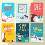 Bandeiras sociais da venda dos meios do Natal para o anúncio móvel do Web site Xmas ilustração royalty free
