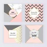 Bandeiras sociais geométricas modernas dos meios com formas dos triângulos, fundo de mármore da textura e linhas douradas Molde q ilustração stock