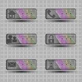 Bandeiras transparentes com ícones diferentes do caráter Imagens de Stock Royalty Free