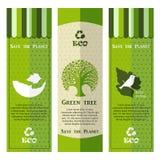 Bandeiras verde-clara modernas da ecologia Imagem de Stock
