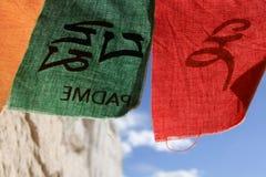 Bandeiras verdes e vermelhas da oração, Ladakh, Índia Foto de Stock Royalty Free