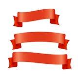 Bandeiras vermelhas da fita ajustadas Placa bonita para o gráfico da decoração Projeto velho do estilo do vintage Fotos de Stock