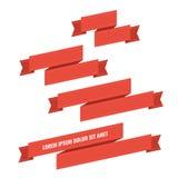 Bandeiras vermelhas da fita da Web ajustadas Foto de Stock