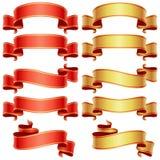 Bandeiras vermelhas e douradas ajustadas ilustração stock