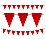 Bandeiras vermelhas festivas no fundo branco Imagens de Stock Royalty Free