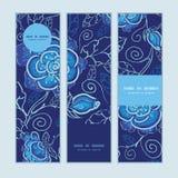Bandeiras verticais azuis das flores de noite do vetor ajustadas Foto de Stock