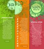 Bandeiras verticais coloridas de 100% bio, alimento natural com lugar para seu texto Desenhado à mão Vetor Imagens de Stock Royalty Free
