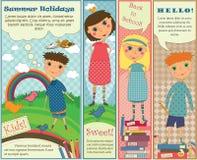 Bandeiras verticais com miúdos bonitos Fotos de Stock Royalty Free