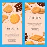 Bandeiras verticais da Web do vetor com cookies dos desenhos animados ilustração stock