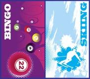 Bandeiras verticais do esqui e do bingo Fotografia de Stock