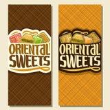 Bandeiras verticais do vetor para doces orientais Foto de Stock