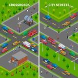 Bandeiras verticais isométricas do tráfego da rua ilustração royalty free