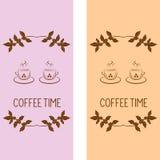 Bandeiras verticais xícara de café e ramos ilustração do vetor