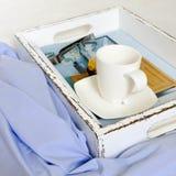 Bandeja blanca de la cama de la porción - elegancia lamentable Imágenes de archivo libres de regalías