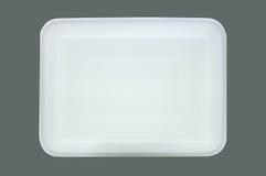 Bandeja blanca de la comida de la espuma de poliestireno Imagen de archivo libre de regalías