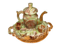Bandeja, cafetera y tazas del Onyx, aisladas en blanco Foto de archivo libre de regalías