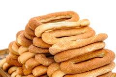 Bandeja com bagels Fotos de Stock Royalty Free