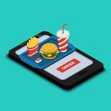 Bandeja com hamburguer, batatas fritas e uma bebida no SCR do smartphone Imagem de Stock