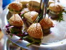 Bandeja com os aperitivos do sanduíche do tamanho de Mini Bite Imagem de Stock
