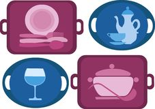 Bandeja com os quatro pratos diferentes Imagem de Stock