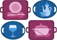 Bandeja con cuatro diversos platos Imagen de archivo