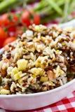 Bandeja con la ensalada de la lenteja y del arroz Imagen de archivo