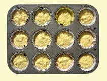 Bandeja con la masa del mollete de la leche Imagen de archivo libre de regalías