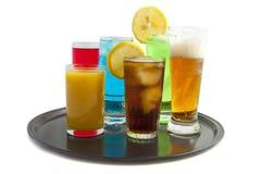 Bandeja con las bebidas Foto de archivo