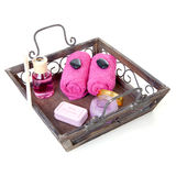 Bandeja con los accesorios rosados para la belleza y el balneario Imagen de archivo