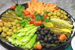 Bandeja da apreciação de legumes frescos Imagens de Stock