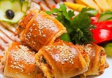 Bandeja da carne servida nos restaurantes e nos cafés fotos de stock