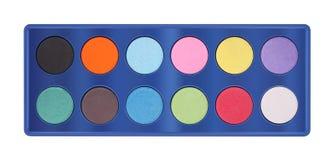 Bandeja da paleta de cores do pó Fotos de Stock Royalty Free