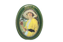Bandeja de Coca Cola Lady Tin Tip Fotos de archivo libres de regalías