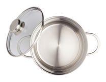 Bandeja de cozimento de aço inoxidável do potenciômetro isolada sobre o fundo branco Fotografia de Stock