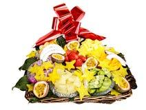 Bandeja de fruta tropical Fotografía de archivo libre de regalías