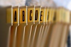 Bandeja de la clasificación alfabética Foto de archivo libre de regalías