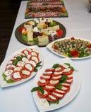 Bandeja de la comida con queso delicioso y diverso Imágenes de archivo libres de regalías