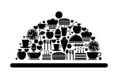 Bandeja de la porción con los iconos de la comida Fotografía de archivo