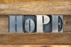 Bandeja de madeira da palavra da esperança Imagem de Stock