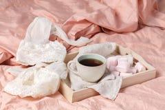 Bandeja de madera con el desayuno ligero en cama en la cama con el lino blanco Imagenes de archivo
