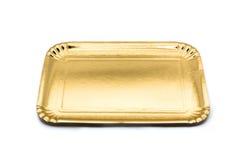 Bandeja de papel de oro vacía de la comida Fotografía de archivo