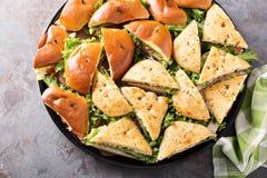 Bandeja de sanduíches do peru e de presunto Foto de Stock