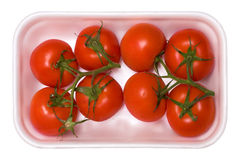 Bandeja de tomates Fotos de archivo libres de regalías